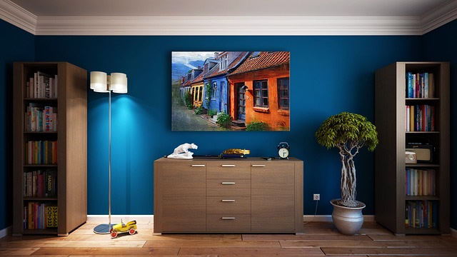 Picture on Blue Wall